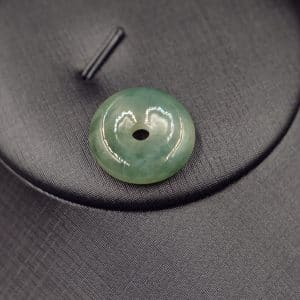 Natural jade donut pendant white and dark green