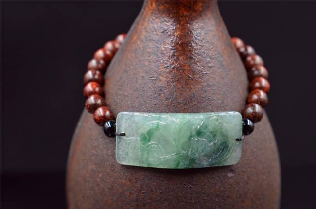 Helen Grade A Jade Jade square band wooden beads bracelet