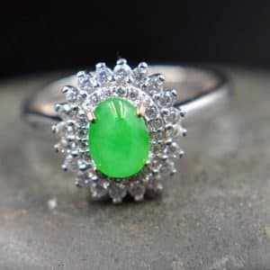jade silver green ring