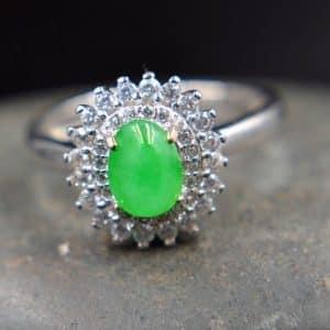 jade silver green ring