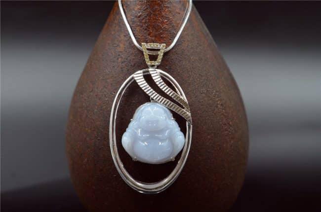 jade Buddha white pendant
