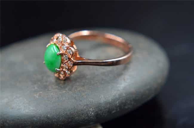 jadeite green gemstone ring