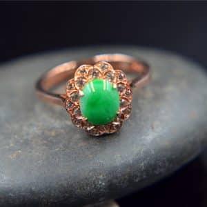 jadeite green gemstone ring