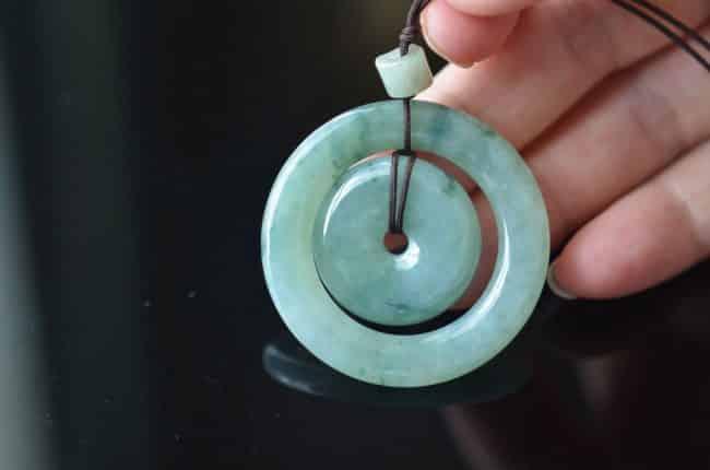 Helen Grade A Jade Natural jade donut gemstone Pendant necklace
