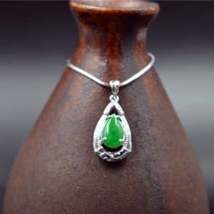 green natural jade silver 925 pendant