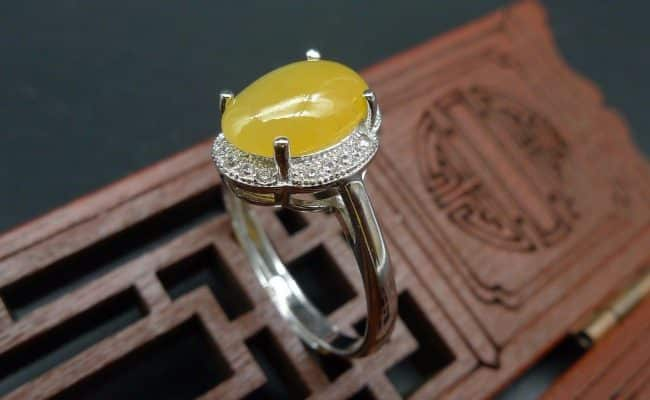yellow jade cabochon silver 925 ring