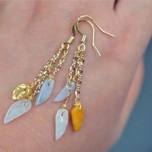 Natural jade leaves earrings Burmese genuine 14k gold filled