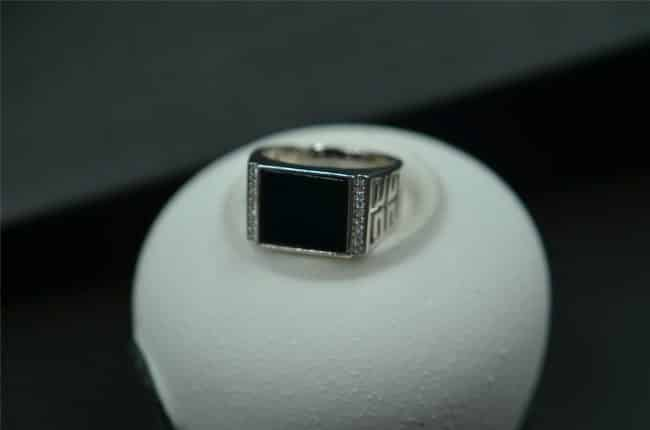 Natural black jade ring silver925 setting for men