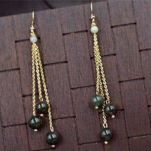 Jade earrings dark green beads14k gold filled