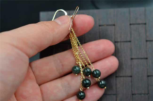 Jade earrings dark green beads14k gold filled