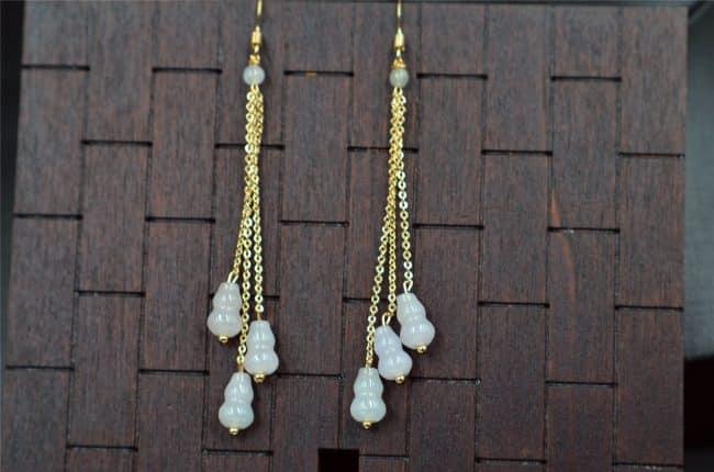 Bead jade earrings untreated jadeite gourd 14k gold filled