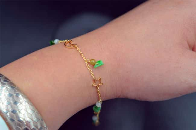 Green jade stone drops 14K gold filled jadeite bracelet