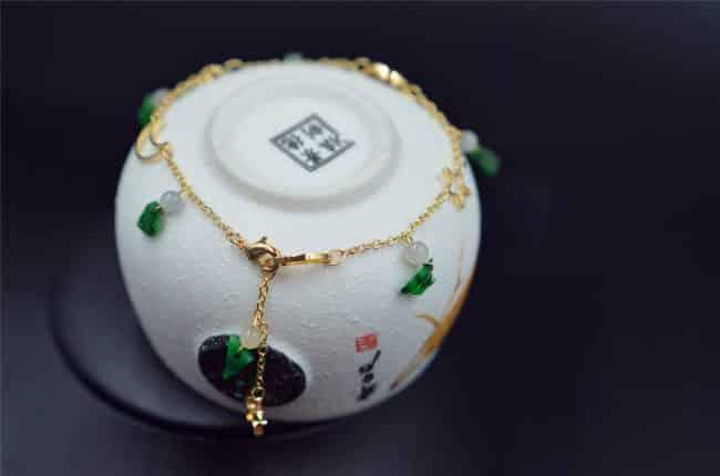 Green jade stone drops 14K gold filled jadeite bracelet