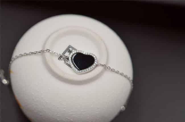 Silver925 jade bracelet black heart chain