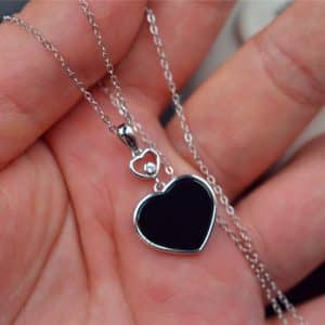 Jade heart necklace silver 925 pendant