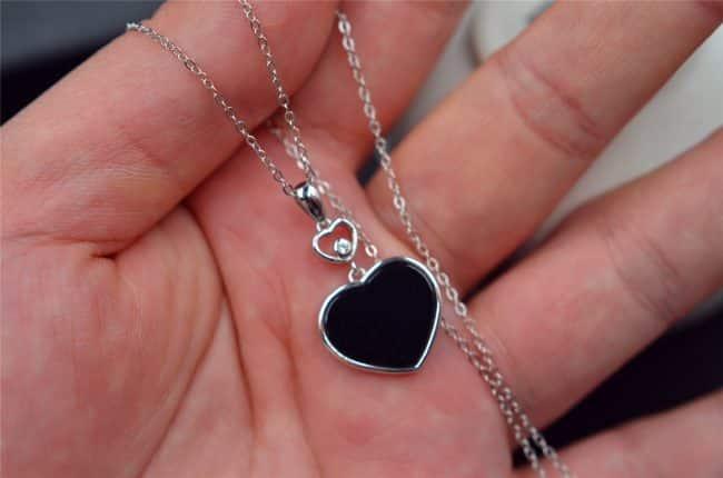 Jade heart necklace silver 925 pendant