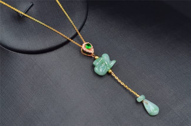 Jade rabbit necklace pendant with a waterdrop 14 K gold filled