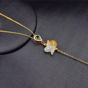 Jade animal rabbit necklace yellow jadeite