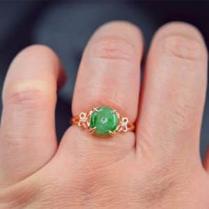 Gemstone jade ring silver 925 green donut