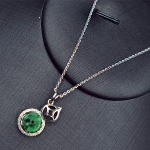 Jade donut silver 925 gourd pendant