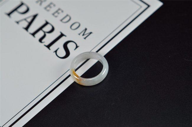Genuine jade ring yellow white jadeite rings stone band ring 18.7mm 27121930