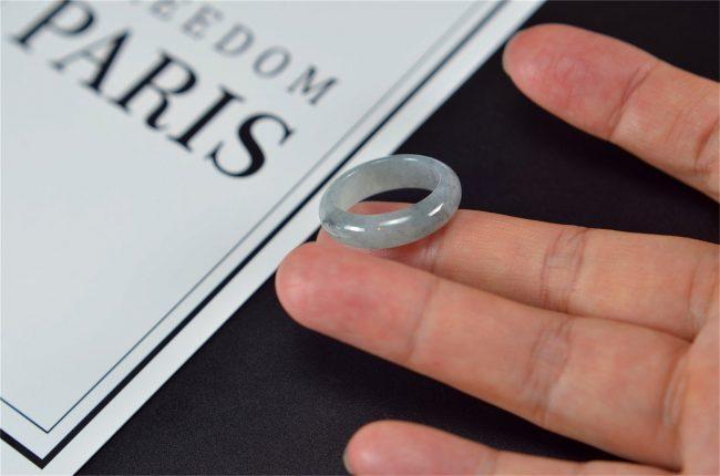 Men's Jade Ring white black jadeite rings stone band ring 17.9mm 27121904