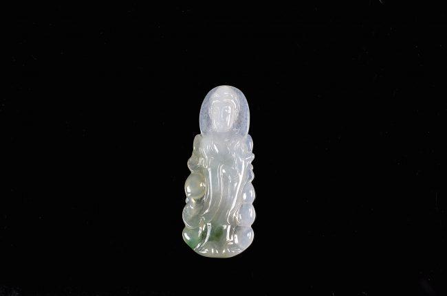 Kwan yin green jade pendant Chinese Buddhism jadeite GuanYin necklace 10012010