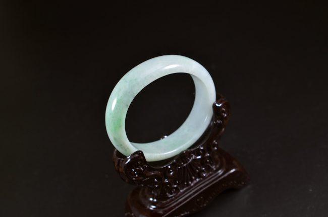 Green jade Burma jadeite oval shape small size bangle 52mm 13102002