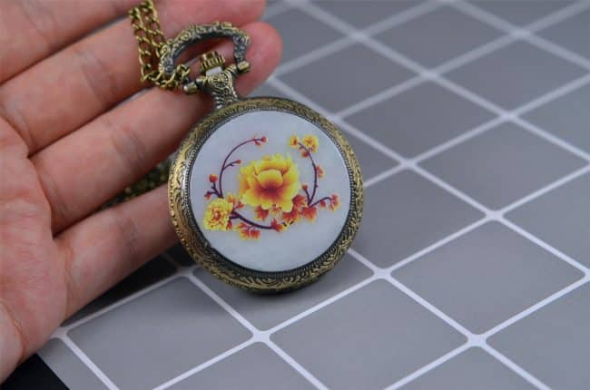 Natural Jade Cover Pocket Watch Pendant Necklace  200520187