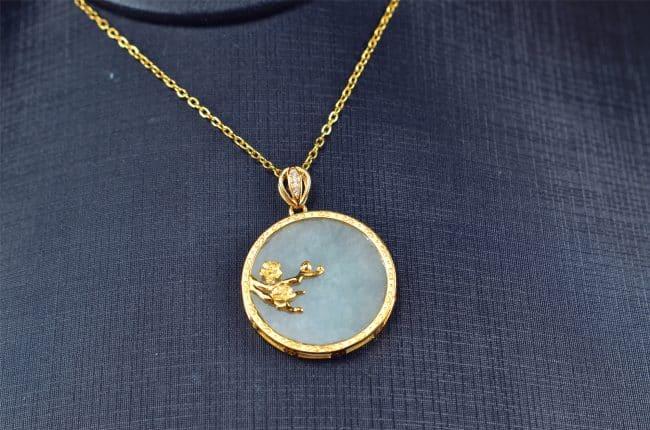 silver 925 jade coin pendant