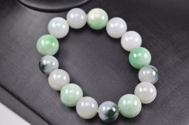 Multicolor jade beads real genuine Burma jadeite bracelet for men 14mm 03072001