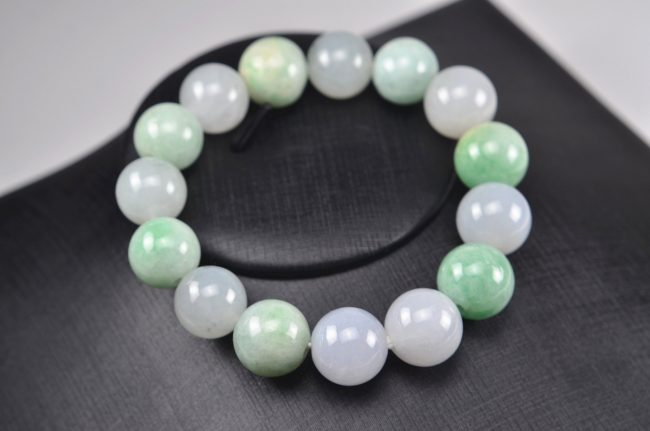 Jade beads real genuine Burma jadeite bracelet for men 14 mm 03072004