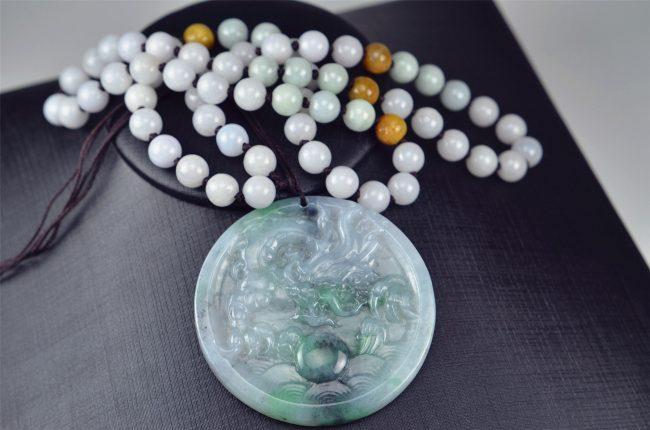 Helen Grade A Jade Jade pendant dragon black and green round necklace 03072009 3072009