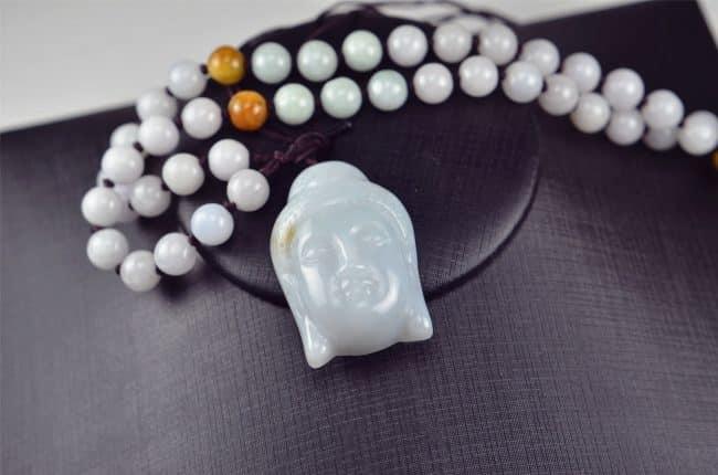 Helen Grade A Jade Natural Jade Kwan Yin pendant white necklace 03072010 3072010