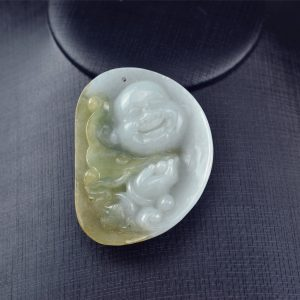 Yellow Jade Buddha pendant necklace 03072015