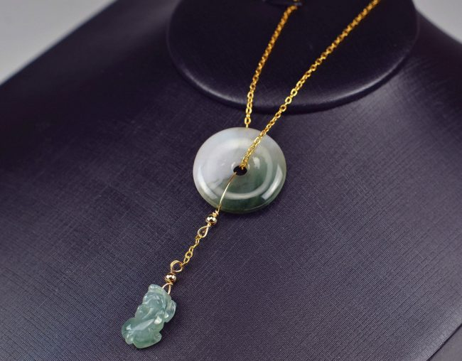 14K gold jadeite pendant grade A Jadeite donut pixiu necklace 03072018
