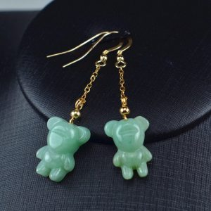 Jade green bear earrings 14k gold filled