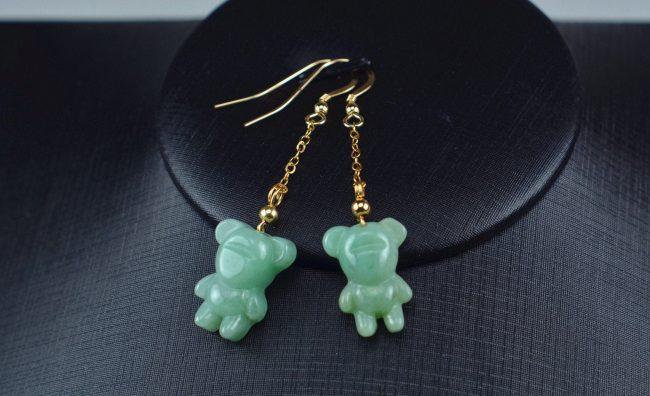 Jade green bear earrings 14k gold filled