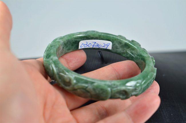 Helen Grade A Jade Carved Green Jadeite Old Jade Bangle with Ruyi 03072029 57mm 3072029
