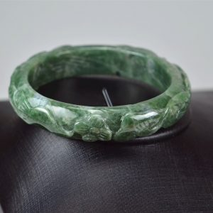 Carved Green Jadeite Old Jade Bangle with Ruyi 03072030 60mm