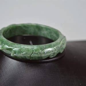 Carved Green Jadeite Old Jade Bangle with Ruyi 03072033 60mm