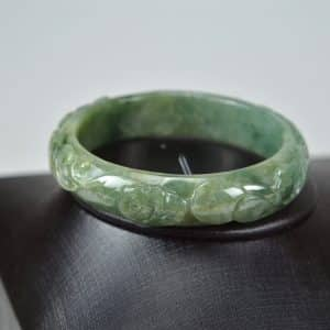 Carved Green Jadeite Old Jade Bangle with Ruyi 03072037 56mm