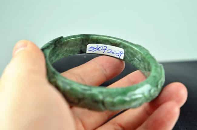 Helen Grade A Jade Carved Green Jadeite Old Jade Bangle with Ruyi 03072039 58mm 3072039