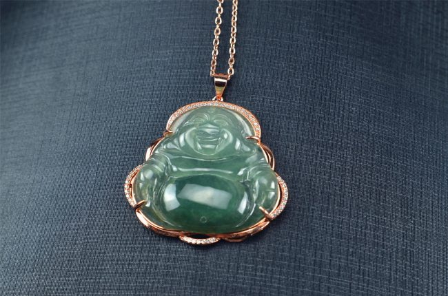 Icy Green Hand-carved Jadeite Buddha Amulet Pendant silver 925 03072042