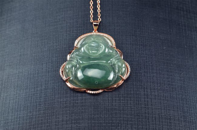 Helen Grade A Jade Icy Green Hand-carved Jadeite Buddha Amulet Pendant silver 925 03072042 3072042