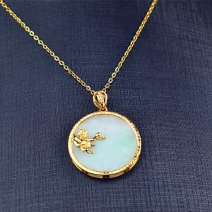 Icy  jade pendant with silver 925 coin flower necklace 03072063