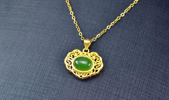 Bi jade Jasper green Jasperite silver 925 necklaces locker 03072054