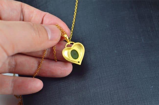 Helen Grade A Jade Bi jade Jasper green Jasperite silver 925 necklaces heart 03072055 3072055
