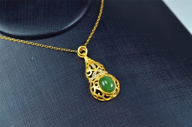 Helen Grade A Jade Bi jade Jasper green Jasperite silver 925 necklaces Guard 03072056 3072056