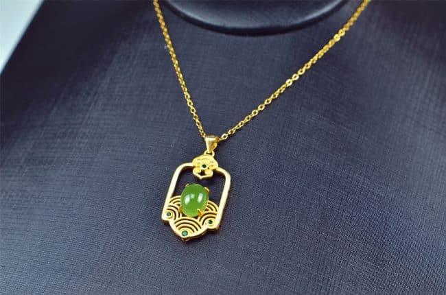 Helen Grade A Jade Bi jade Jasper green Jasperite silver 925 necklaces Pendant 03072058 3072058